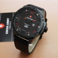 Jam Tangan Pria Original - Swiss Army SA3036 (Black Red)