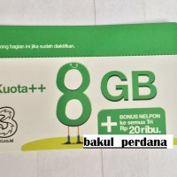 Voucher Isi Ulang Tri 8 GB + Pulsa 20.000 Reguler 24 Jam - Three 3 8GB