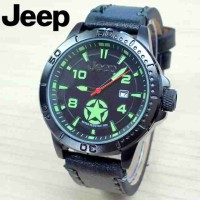 Jam Tangan Pria Jeep Star Kulit Hitam_Hijau