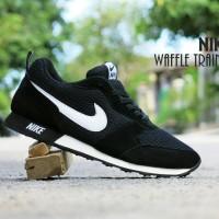 Jual Sepatu Sport Nike Waffle Trainer Hitam Putih / casual cowok cewek Murah