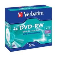 Verbatim DVDRW DVD RW 5 Pack 4.7 GB 4x Matt Silver - VER-43284-43285