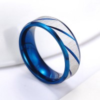 Mens Blue Silver Brushed Stainless Steel Traditional Wedding Band Ring