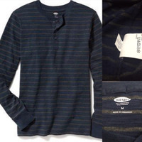 Kaos Old Navy - Long Sleeve Henley Charcoal Strip Navy Blue Original