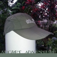 Topi Lipat Quick Dry Jack Wolfskin Warna Green Folding Cap Wallet Hat