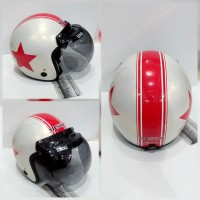 harga Helm Bogo MvStar Retro Star Red Orange White Glossy Tokopedia.com