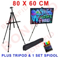 Jual LED Writing Board 80x60 cm FREE kaki & spidol satu set papan tulis led Murah