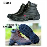 sepatu tracking kickers boot safety kerja pria hitam coklat