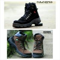 sepatu boot kickers safety adventure touring kerja pria hitam coklat