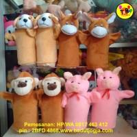 Boneka Tangan Karakter Hewan / Anjing/ Keledai/ Monyet/ Babi