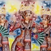Lukisan Penari Legong Bali (3 Tari Legong Bali) 135x85 Kanvas Saja