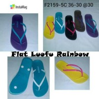 Sendal Sandal Flat Karet Jelly Shoes LUOFU RAINBOW Anti Slip Murah