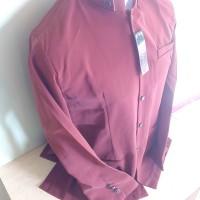 Jasko Polos Warna Merah Bata Jas Baju Koko Muslim Bahan Twis Elegan