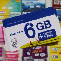 Voucher Three 6GB, Kuota Internet 3 data Tri 6 GB 24 Jam + Pulsa 20rb