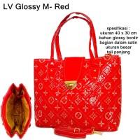 tas wanita hand bag glossy key lv merah