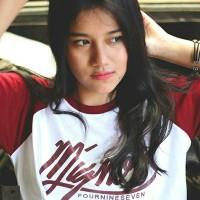 harga T-shirt / Kaos Raglan Distro Mignon 497 Original putih  merah marun Tokopedia.com