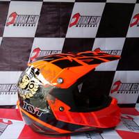 Helm KYT Trail Motocross Cross Over K-Racing Orange Fluo