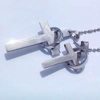 Kalung Couple Silver Cross Necklace 27