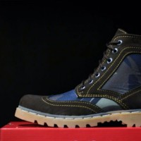 SEPATU BOOT KICKERS ARMY BLUE BLACK