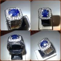 Jual Cincin Blue sapphire Safir madagaskar plus memo. Natural Murah