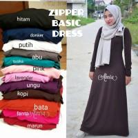 Jual Gamis Baju Muslim Polos Busui Friendly Zipper Basic Dress Murah