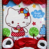 KADO BAJU BAYI 3 IN 1 SET HELLO KITTY MERAH USIA 0-6 BULAN ( SBK1)