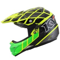 Helm KYT Trail Motocross Cross Over K-Racing Green Yellow Fluo