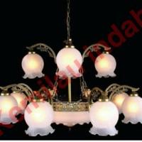 LAMPU GANTUNG PLAFON TERAS KLASIK ANTIK CAB8+3+4 WH BOHLAM E27 BB HIAS
