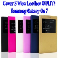 Flip Cover S View Leather (KULIT) Samsung Galaxy On 7