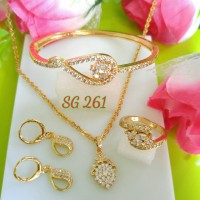 gelang permata anting gantung perhiasan set lapis emas SG261