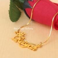 Kalung Nama Lapis Emas Mahkota Rantai Italy - Perhiasan Nama Custom