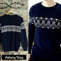 Anthony Navy sweater rajut tribal