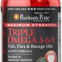 Puritan Pride Maximum Strength Triple Omega 3-6-9 - 120 Softgels