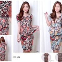 Voshky Batik Bodycon Mini Dress / Dress Kerja Batik Wanita Voshky
