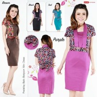 Fredellay Batik Bodycon Mini Dress / Dress Kerja Batik Wanita Fredellay
