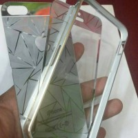TEMPERED GLASS DIAMOND 3 D AND BUMPER SILVER IPHONE 5/5S