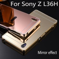 Mirror Metal Bumper Hard Back Cover Case Cermin Sony Xperia Z - LTE