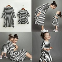 Cp Dress salur mom kid Couple ibu dan anak baju pasangan