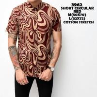 Kemeja murah kantor pendek katun stretch slimfit merah motif circural