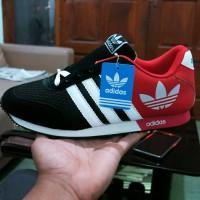 Sepatu Adidas V Racer Classic Hitam Merah 02 / sport casual cowok