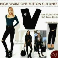 hw one button cut knee / highwaist cut knee / high waist