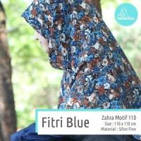 Jilbab / Hijab / Kerudung / Khimar Elmina Zahra motif - Fitri Blue