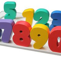 Chunky Puzzle Angka besar 0-9, Mainan edukatif edukasi anak kayu Lego