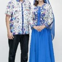 Sarimbit Pasangan Keluarga Gamis Maxi Long Dress Batik 1540 Biru