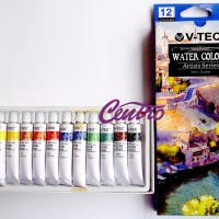 V TEC WATER COLOR / CAT AIR 12 WARNA 12ML