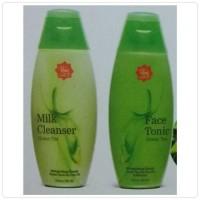 Jual Paket pembersih Milk Cleanser + Face Tonic GREEN TEA Viva Cosmetics Murah