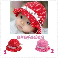 Jual topi bayi dan anak perempuan polkadot tali Murah