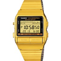 jam tangan casio wanita db380g-1 databank emas gold original vintage