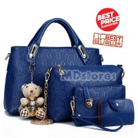 Tas Fashion Wanita Import Style Korea B4699 Blue 4 in 1