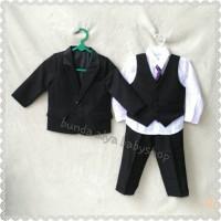 6-7 8-9 10 TAHUN tuxedo jas anak 5IN1 POLOS HITAM premium+tas+hanger