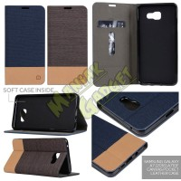 Jual Standing Pocket Leather Case Canvas Samsung Galaxy A7 (2016) Mura